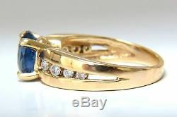 GIA Certified 2.66ct natural no heat sapphire diamond ring 14kt. Unheated blue+