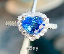 GIA Certified 2.75 Ct Blue Ceylon IF Heart Sapphire Diamond Ring 14k White Gold
