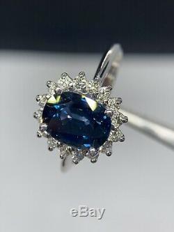 GIA Certified 2.8 Ct Blue IF Ceylon Sapphire & D VS1 Diamond Ring 14K White Gold