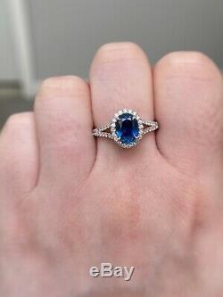 GIA Certified 2.9 Ct Blue Sapphire & Diamond Halo Split Shank Ring 14k W Gold