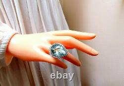 GIA Certified 29.31ct Natural Pear Shaped Aquamarine Diamonds Ring 14kt