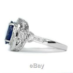GIA Certified 3.09ct Natural Sapphire Ring 46pcs 1.027ct VS/G DIAMOND 18K Gold