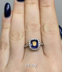 GIA Certified 3.2 Ct Blue Purple Color Change Sapphire & Diamond Ring 14K W Gold