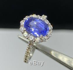 GIA Certified 3.2 Ct Ceylon Blue Sapphire & D VVS1 Diamond Ring 14k White Gold