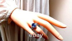 GIA Certified 3.30ct Natural No Heat Sapphire Diamond Ring Unheated 14 Karat