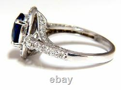 GIA Certified 3.38ct natural royal blue sapphire ring halo cluster+