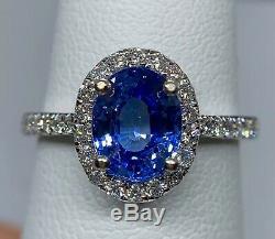 GIA Certified 3 Ct Blue Ceylon IF Sapphire & VS Diamond Ring 14k White Gold