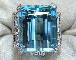 GIA Certified 33.44ct Natural Blue Aquamarine diamonds ring Vivid+