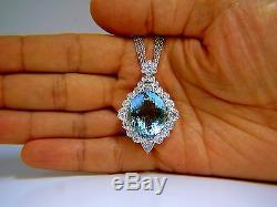 GIA Certified 33.71ct. Natural Blue Aquamarine Diamonds necklace AvisDiamond