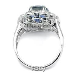 GIA Certified 4.24ct Natural Blue Sapphire Ring 73pcs 1ct VS/G DIAMOND 18K Gold