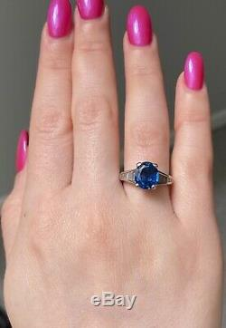 GIA Certified 4.42 Ct Blue Sapphire & Diamond Baguette Engagement Ring Platinum