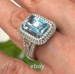 GIA Certified 4.52 Ct Greenish Blue Aquamarine Diamond Engagement Ring 14k Gold