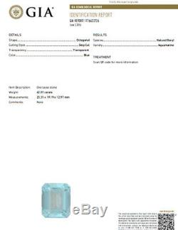 GIA Certified 42.01ct Natural Blue Aquamarine diamonds ring Vivid 18kt Freedom