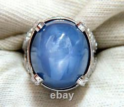 GIA Certified 49.73ct No Heat Color Change Star Sapphire Diamonds Ring 18kt