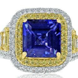GIA Certified 5.87 Ct Octagonal Cut Tanzanite Diamond Ring 14k White Gold