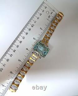 GIA Certified 56.05ct natural aquamarine diamonds bracelet Bohemian Deco+