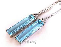 GIA Certified 62.22ct Natural Aquamarine Diamonds Dangle Earrings 18Kt Platinum