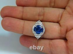 GIA Certified 7.10ct Natural No Heat Sapphire Diamond Ring Trilliants Unheated +