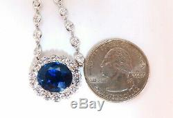 GIA Certified 7.53ct Natural No Heat BLue Sapphire 3ct Diamonds Necklace 14kt