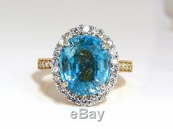 GIA Certified 7.83ct natural greenish blue zircon diamonds ring halo raised+