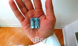 GIA Certified 99.90ct Natural Blue Emerald Cut Aquamarine Magnificent Gemstash