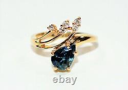 GIA Certified Blue Green Sapphire & Diamond 2.08tcw 14k Yellow Gold Women's Ring