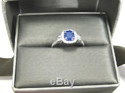 GIA Certified Blue Sapphire Ring Halo 14K White Gold Natural Heirloom App. $5,35