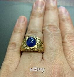 GIA Certified Ceylon Blue Sapphire 5 Carat Cabochon 18k Gold Ring Heavy 18 Grams