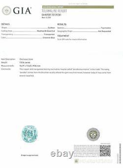GIA Certified MOZAMBIQUE Paraiba Tourmaline 13.54 Cts Natural Untreated Cushion