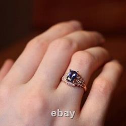 GIA Certified Natural Ceylon Blue Sapphire Diamond 18K Rose Gold Ring Cushion