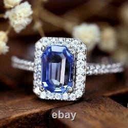 GIA Certified Natural Cornflower Blue Sapphire Diamond 18K White Gold Ring