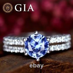 GIA Certified Natural Cornflower Blue Sapphire Diamond 18K White Gold Ring Round