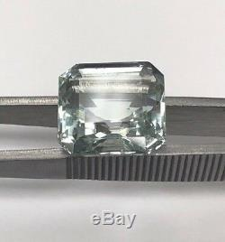 GIA Certified Natural Light Green Blue Aquamarine Square Octagonal Cut 13.97 CT