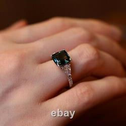 GIA Certified Natural Unheated Teal Sapphire Diamond 18K White Gold Ring 4TCW