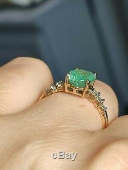 GIA Certified Natural neon blue green Paraiba TOURMALINE & diamond 9ct gold ring