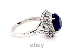 GIA Certified PLATINUM 4.62 ct Natural Blue Sapphire, 1.00 cts Diamond Ring NEW