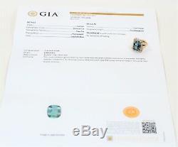 GIA Certified Paraiba Tourmaline & Diamond 9.12tcw 14kt Yellow Gold Women's Ring