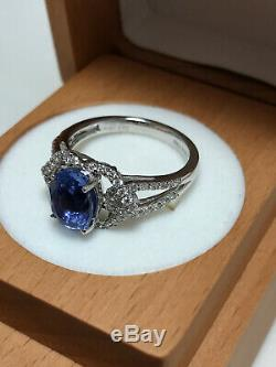 GIA Certified Sapphire Blue Natural No heat 3.06 carat Diamond Platinum Ring