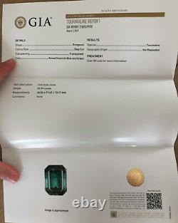 GIA certified 52.79 ct Indicolite Tourmaline 18K Necklace with over 1 ct Diamond