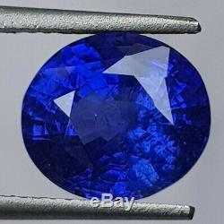 GRS CERTIFIED Royal Blue(intense to vivid) Unheated 5.06Cts Sapphire
