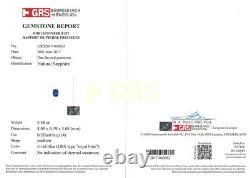 GRS IGI Certified BURMA Blue Sapphire 2.38 Cts Natural Untreated Cushion