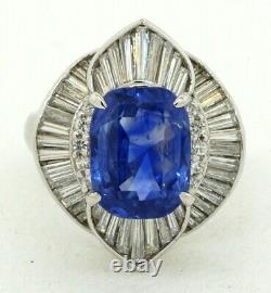 GRS certified Platinum 8.34CTW diamond/NO HEAT sapphire cocktail ring size 6.25