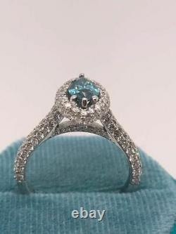 Gia Certified 2 Ct Diamond Fancy Green Blue Marquise Cut 18k White Gold Ring