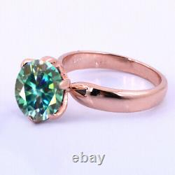 Gorgeous 3 Ct Certified Blue Diamond Solitaire Engagement Ring In Rose Gold