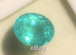 Gorgeous! 7.50 Carat Gia Certified Neon Poolwater Blue Paraiba Tourmaline