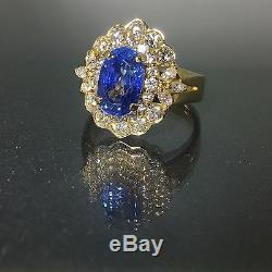 Gorgeous GIA Certified 18k gold Natural VS-1 Diamond & Blue Sapphire ring 5.01ct