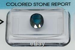 IGI Antwerp Certified 1.96 ct Oval Natural Greenish Blue Sapphire, Heated Only
