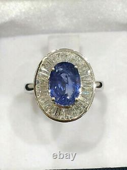 IGI CERTIFIED 4 Ct Very High Quality Blue Sapphire Ring 18K Gold and Diamonds