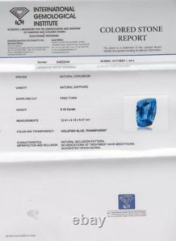 IGI Certified BURMA Blue Sapphire 6.16 Cts Natural Untreated Velvety Blue