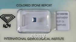 IGI Certified Rare 0.27ct Old Baguette Cut Unheated Blue Kashmir Sapphire